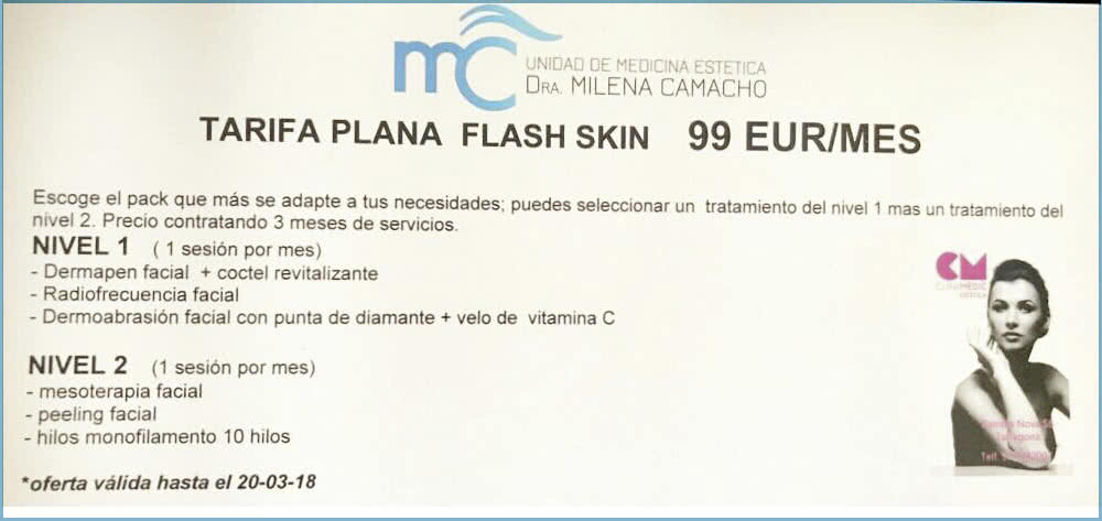 Promoción Unidad de Medicina Estética Dra. Milena Camacho en Clinimèdic